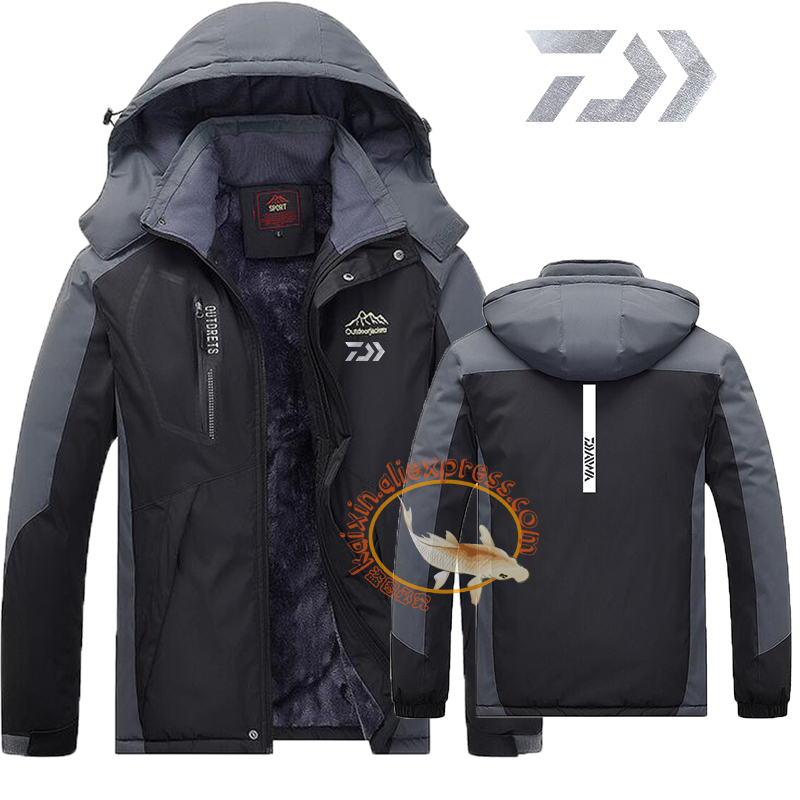 Daiwa Fishing Clothing Winter Men Women Autumn Winter Waterproof Warm Fishing Jackets 2019 Patchwork Hooded Mountaineering Suits