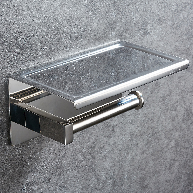 Image 3 - 304 Stainless Steel Toilet Paper Holder With Shelf Wall Mounted Toilet Tissue Mobile Phone Roll Holder Bathroom Accessories-in Paper Holders from Home Improvement