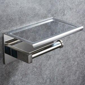 Image 3 - Portarrollos de papel higiénico de acero inoxidable 304, con estante, montado en la pared, para teléfono móvil, accesorios de baño