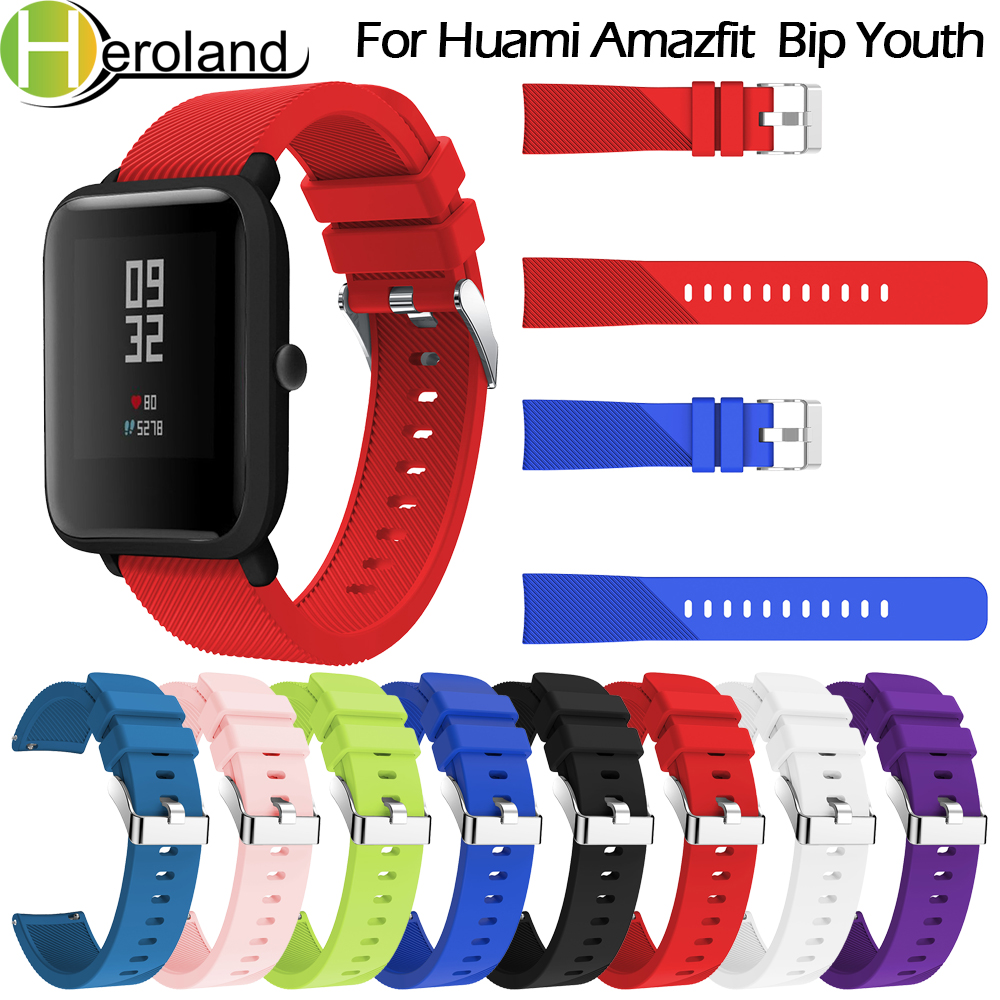 20mm Soft Silicone Sport Strap For Huami Amazfit  Bip Youth Watchband For Xiaomi Huami Amazfit Bip Youth Lite Bands Bracelet