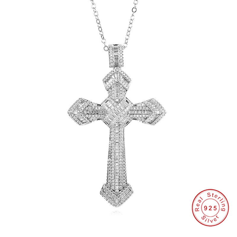Handmade Christianity Cross Pendants Sona Diamond Painting Full Real 925 Sterling Silver Wedding Necklace For Women Fine Jewelry