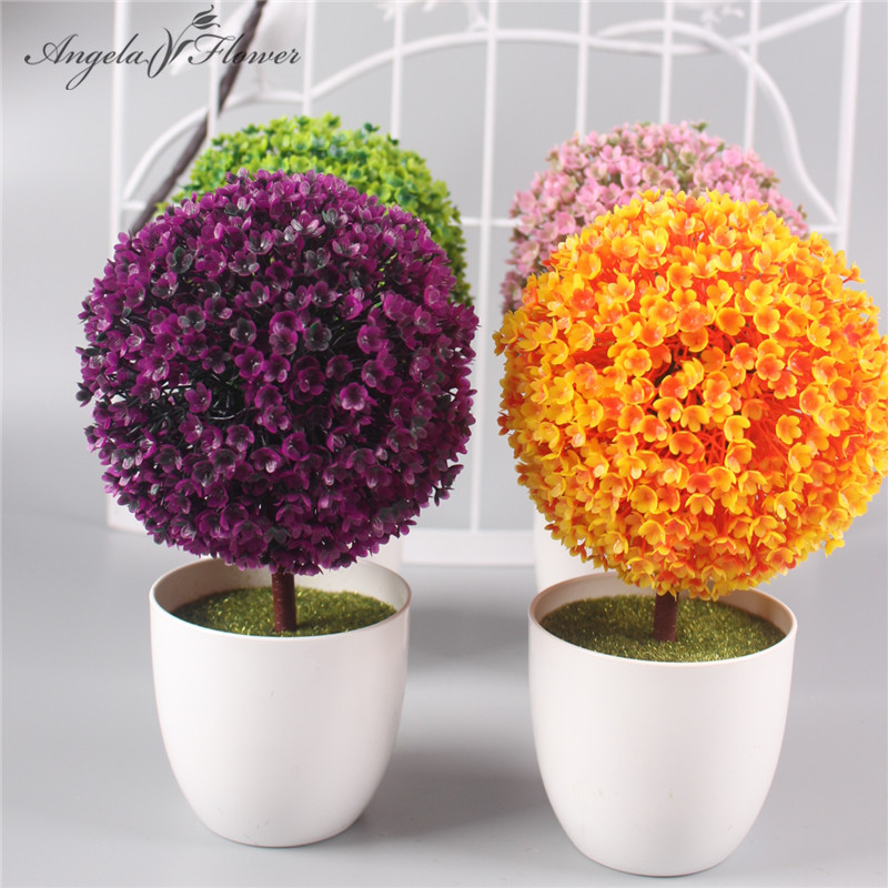 1 set ball flower vase artificial potted plants small for Angela florist decoration