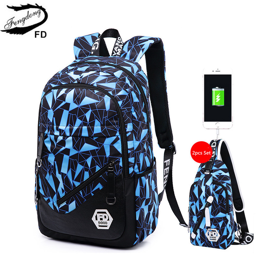 FengDong Men USB Backpack male chest bag College Student ...