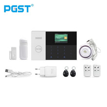 PGST 433MHZ SOS Quad Band Wireless Wifi Gsm Home Alarm System SIM SMS Alarm with APP Controlled TFT Display Door Sensor стоимость