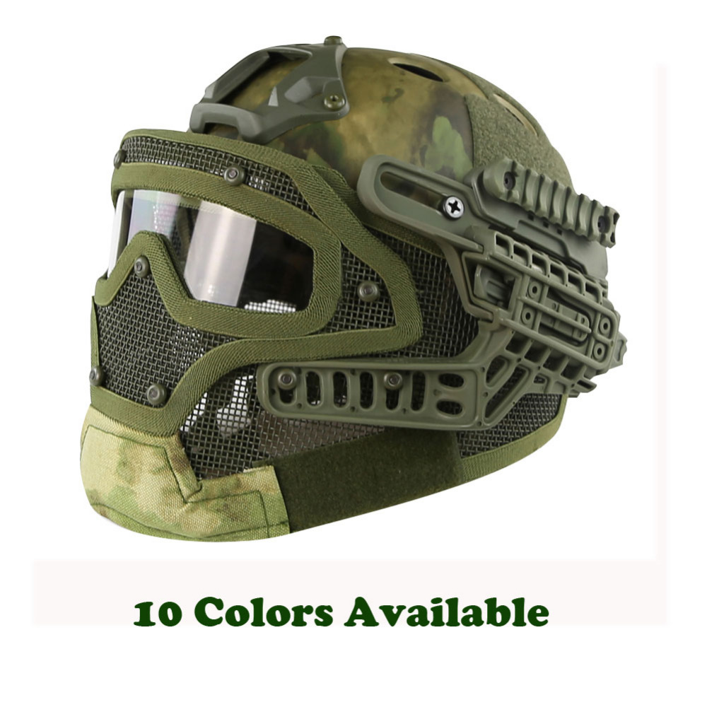 WoSporT G4 System Tactical PJ Helmet Fullface With Protective Goggle and Mesh Face Mask Airsoft Helmets for Military Paintball цена и фото