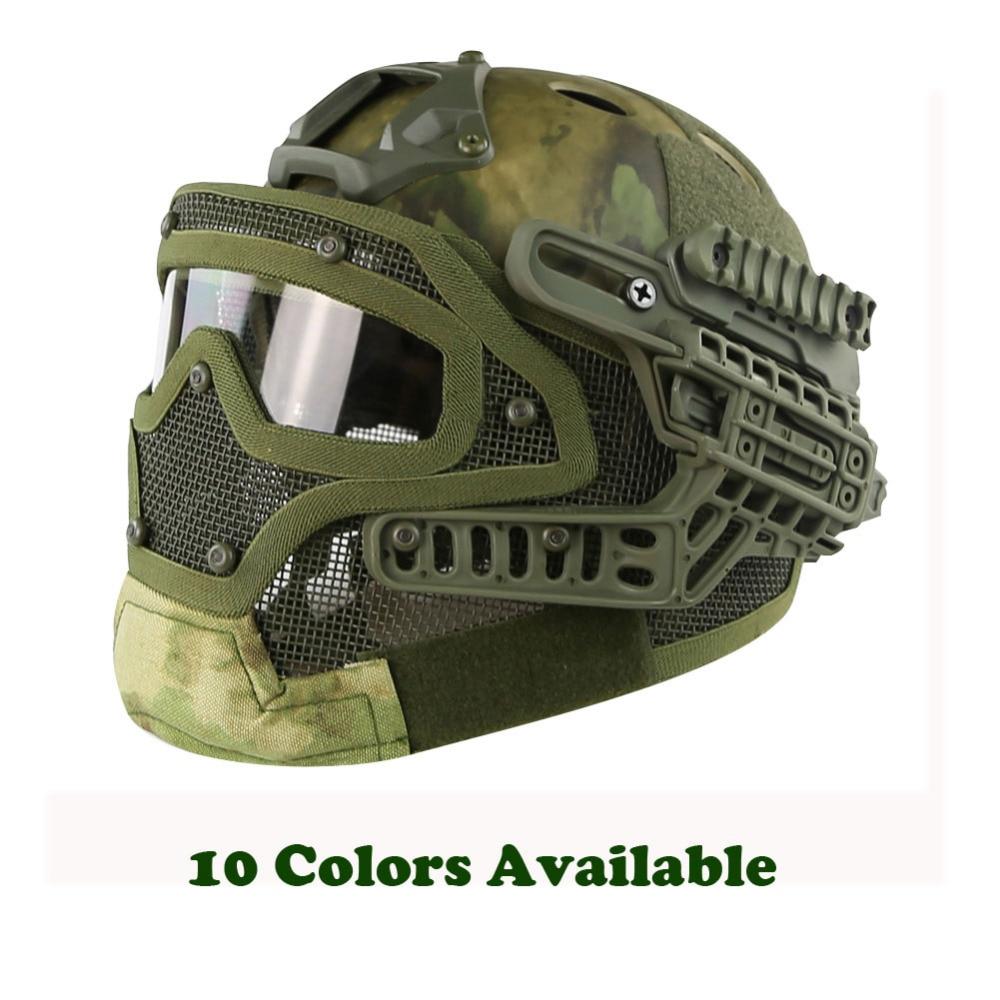 WoSporT G4 système tactique PJ casque Fullface avec lunettes de protection et masque en maille Airsoft casques pour Paintball militaire