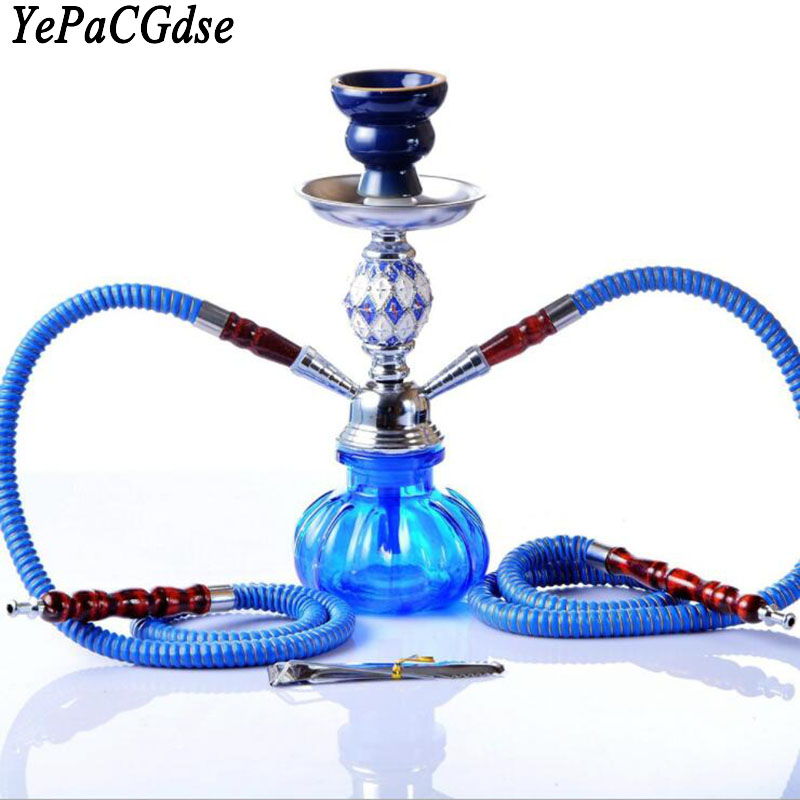 New Arabian Style Acrylic Hookah Set Sheesha Imitation Leather Metal Charcoal Clip Accessories Chicha Narguile
