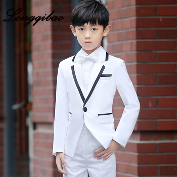 High quality children's suit fashion British style dress set T stage catwalk piano performance dress boy small suit 5 piece set