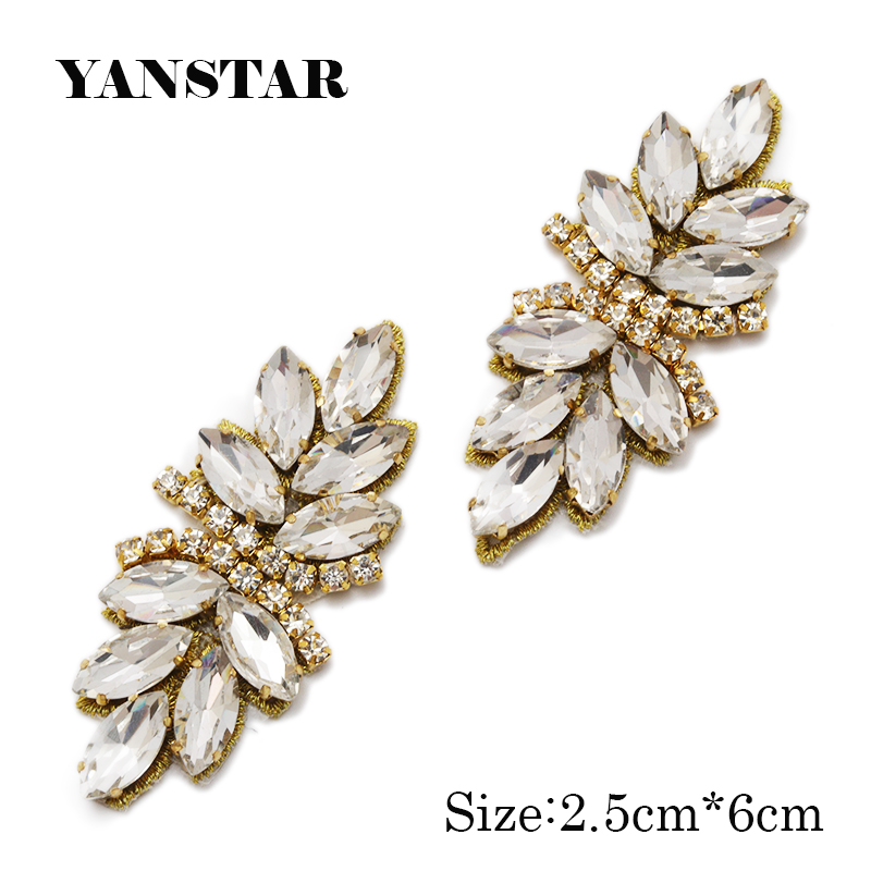 YANSTAR 50pcs Bridal Gown Belt small silver Rhinestone Appliques Trim For Wedding Dress Belts Rose Gold