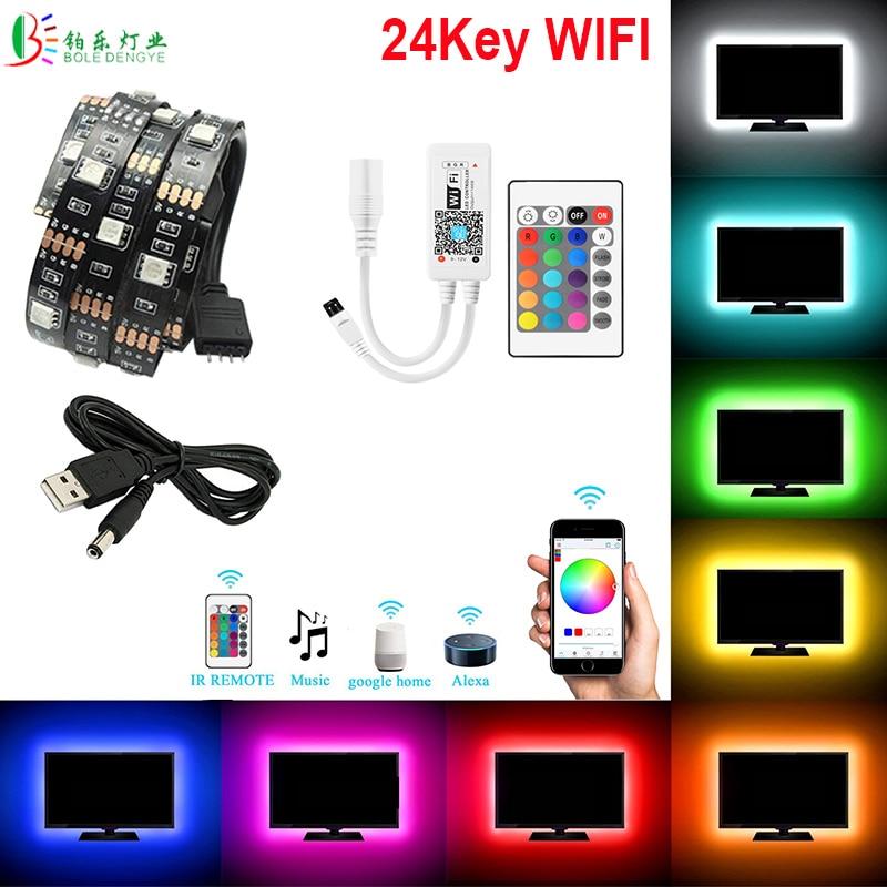 DC5V USB LED TV Light 5050 RGB Strip Tape Bias Waterproof Smart WIFI Controller 24Key Remote 1M 2M 5M PC Backlight Flexible Rope
