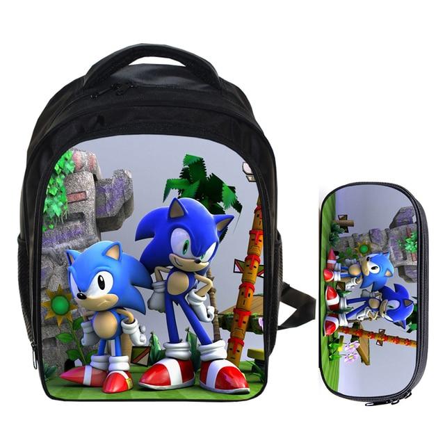 a9557ae0bc 13 Inch Super Mario Bros Sonic Boom the Hedgehog Boys School Backpacks  Children Bagpack Kids Cartoon Mochila Pencil Bag Sets