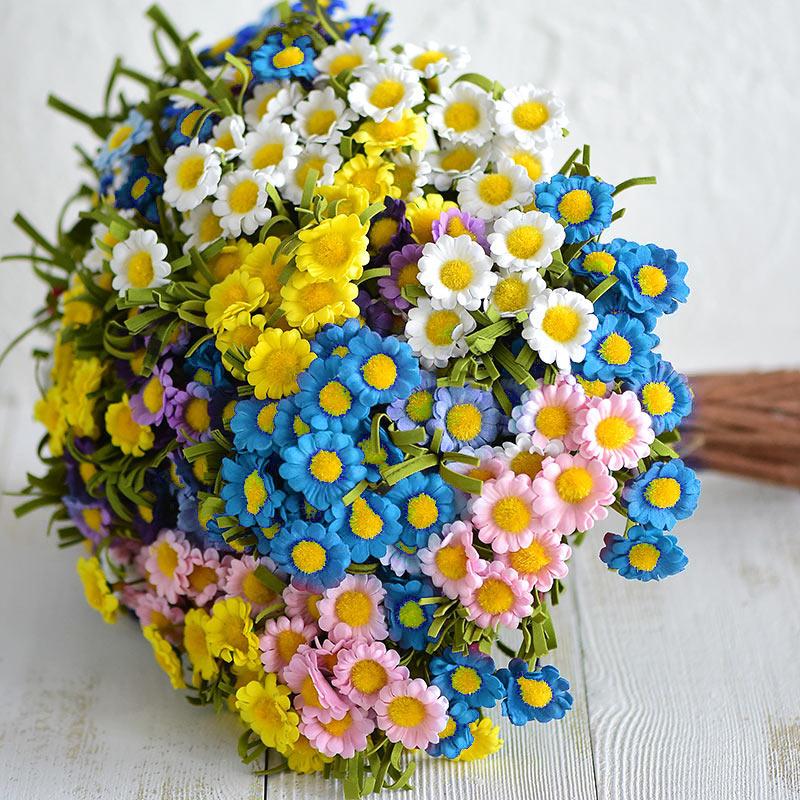 Головок Дейзи Искусственные цветы украшение дома поддельные цветы букет для Гостиная Bedroon Таблица подоконник Лидер продаж ...