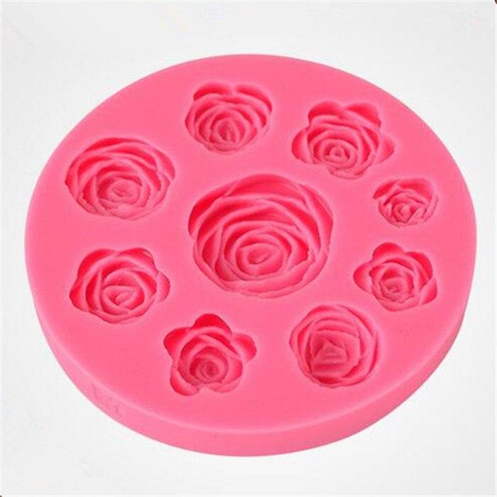 28f8591bcf Rose forma 9-cavidad molde de silicona pasta flores forma presionar  silicona Cupcake decoración molde pasta de goma de chocolate