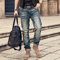 2016 Brand Balmai Jeans Mens Denim Distressed Masculina Men S Slim Long Pants Retro Ripped Biker