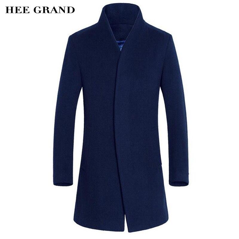 Hee Grand/Для Мужчин's Шерстяное пальто Лидер продаж теплые модные осень-зима тонкий стенд воротник Повседневная куртка manteau Homme M-3XL Размеры mwn206
