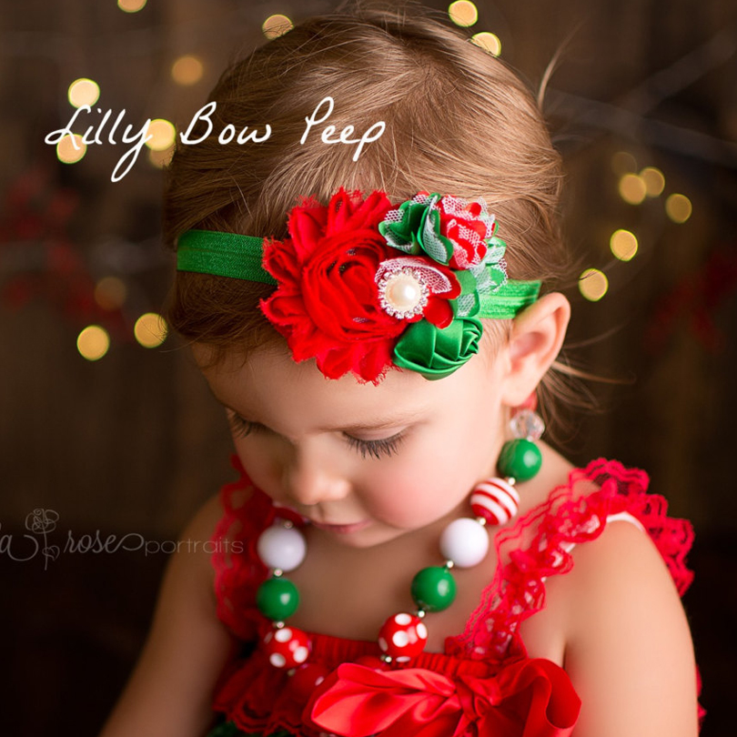 New Christmas Style Baby Grils Headbands Elastic Infant Hair Accessories Cute Red Green Flower Mother & Kids