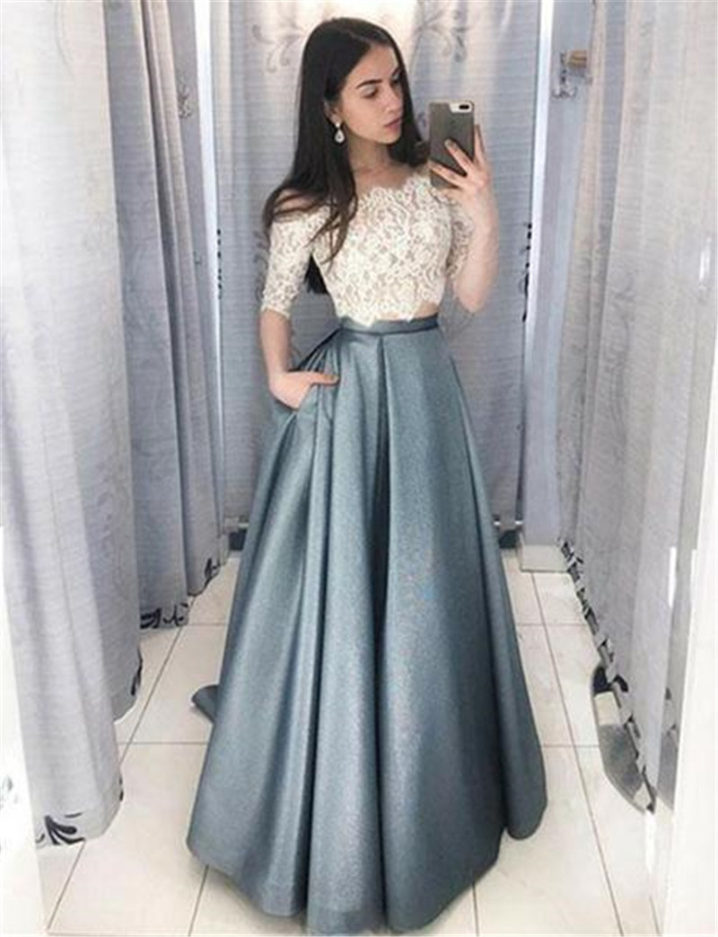 Bbonlinedress New Arrival Two Pieces Evening Dress 2019 Short Sleeves Formal Dress Top Lace Pocket Floor Length Evening Gown 2