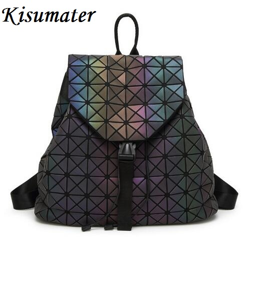 2017 women backpack Geometric Shoulder Student's School Bag Hologram Luminous backpack Laser silver baobao backpack logo bag