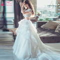 Ivory Wedding Dresses Two Piece Wedding Dress 2016 Tulle Skirts Sweep Train Luxury Bohemian vestido de noiva china Dresses Z175