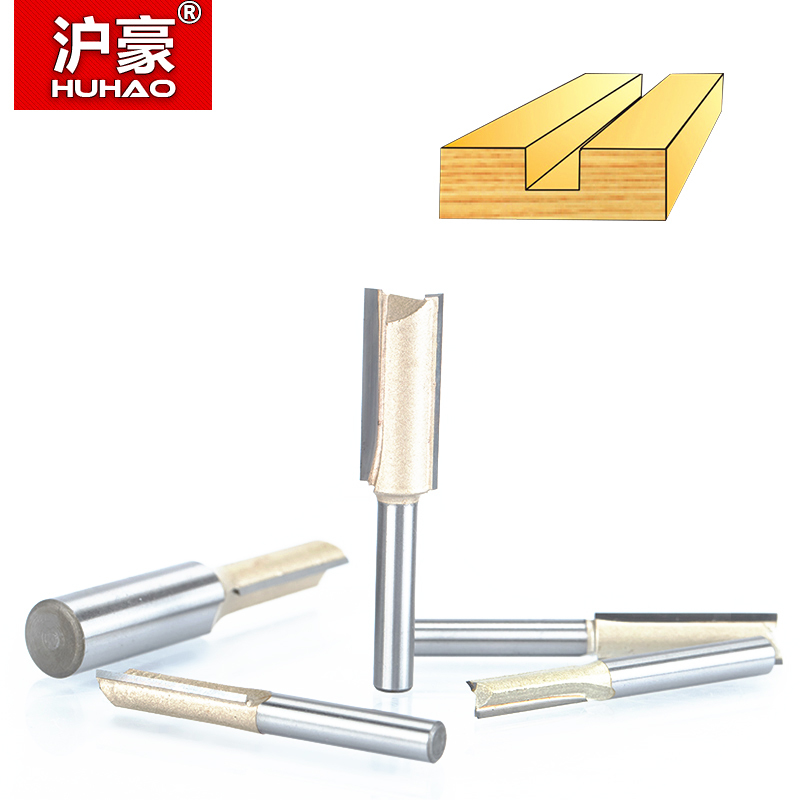 HUHAO 1pcs 1/4 1/2Shank 2 Flute Straight Bit Woodworking Tools Router Bit for Wood Tungsten Carbide Endmill Milling Cutter huhao 1pcs 1 2 1 4 shank classical router bits for wood tungsten carbide woodworking endmill tools classical mounlding bit