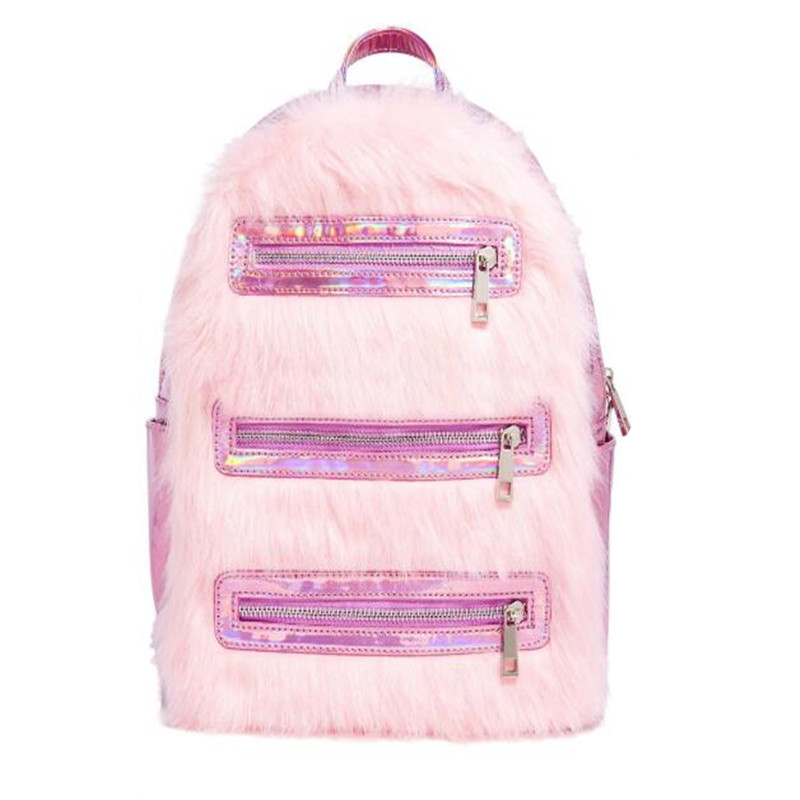 Pink Faux Fur Holographic Laser Backpacks Backpacks Women Fashion Sweet Lady School Bags Female Backpacks Travel BagPink Faux Fur Holographic Laser Backpacks Backpacks Women Fashion Sweet Lady School Bags Female Backpacks Travel Bag