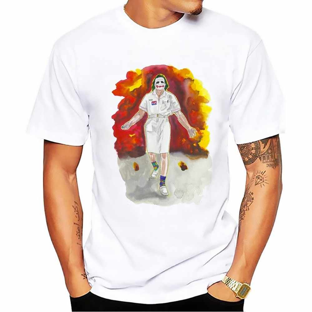 Салют Хит Леджер наиболее классический джокер футболка Мужская Белый Повседневное футболка из дышащей ткани homme темно-насилие Красивые футболки