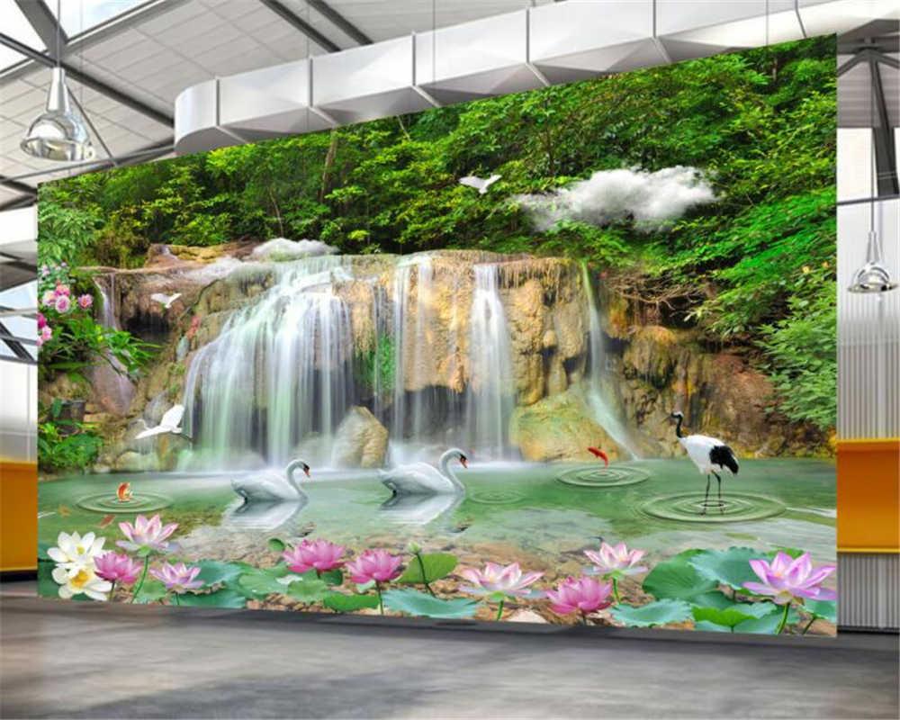 Beibehang ผนังกระดาษภาพจิตรกรรมฝาผนัง 3d Ultra - สูงน้ำตกธรรมชาติ swan lotus เครนภาพวาดตกแต่งบ้านวอลล์เปเปอร์ behang