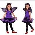 Фиолетовый Batgirl Косплей костюм Девушки Вампира платье для детей Halloween party одежда для девочек новый год рождество Бат Платье