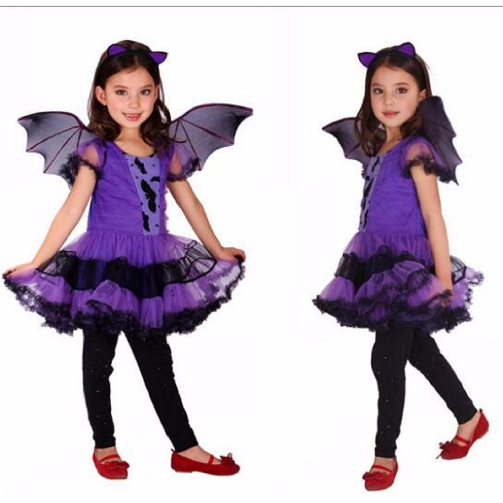 Purple Batgirl Cosplay Costume Girls Vampire Dress For Children Halloween Party Clothing For Girls Batman Christmas Bat Dress