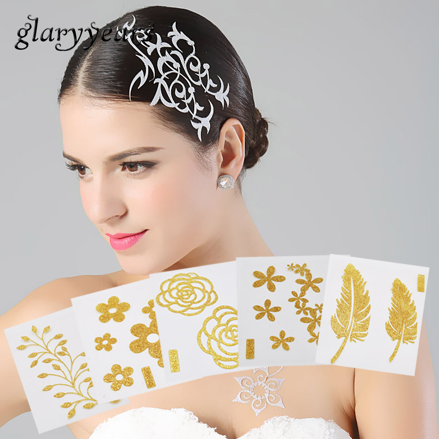 1 Sheet Chic Flash Hair Tattoo Metallic Gold Flower Pattern