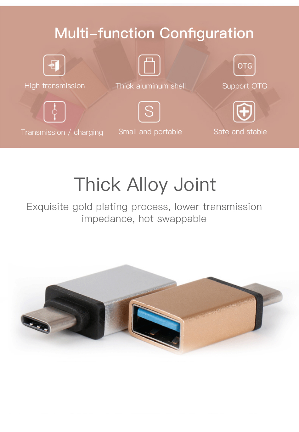 !ACCEZZ USB OTG Adapter Type C To USB Flash Converter For One Plus 5 For LG G5 G6 Xiaomi Mi 5 6 8 Samsung Galaxy S8 S9 Data Sync (2)