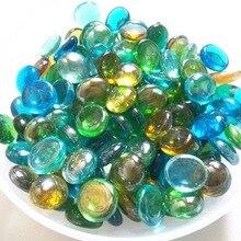 Multicolour goldfish bowl decoration stone glass vase fish tank flat beads size 1.7-2 cm gardening Landscaping Vase Filler