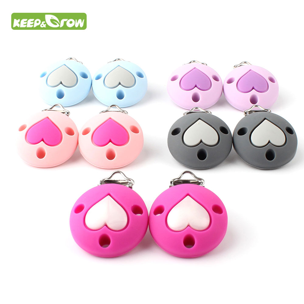 1PC Crown Heart Stars Silicone Pacifier Clips Baby Teething Beads Dummy Holder Clip Teether Chain Nursing Toy Accessories