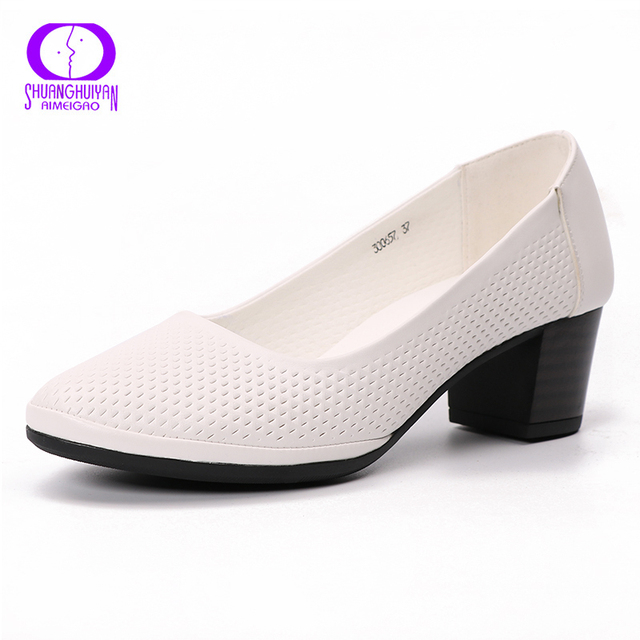 Aimeigao Soft Leather White High Heel Pumps Women Shoes Ladies