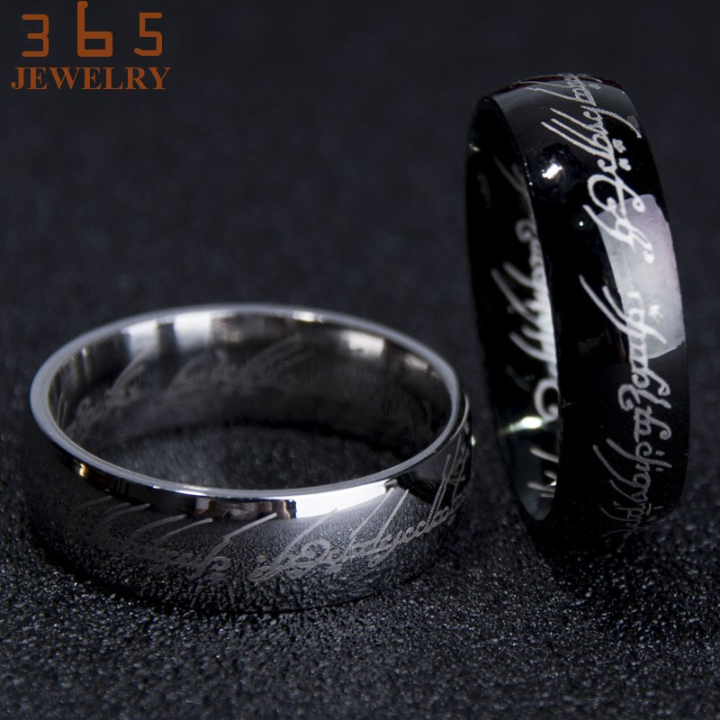 2016-Magic-Letter-The-Hobbit-Lord-of-the-Rings-Black-Silver-Gold-Titanium-Stainless-Steel-Ring (3)