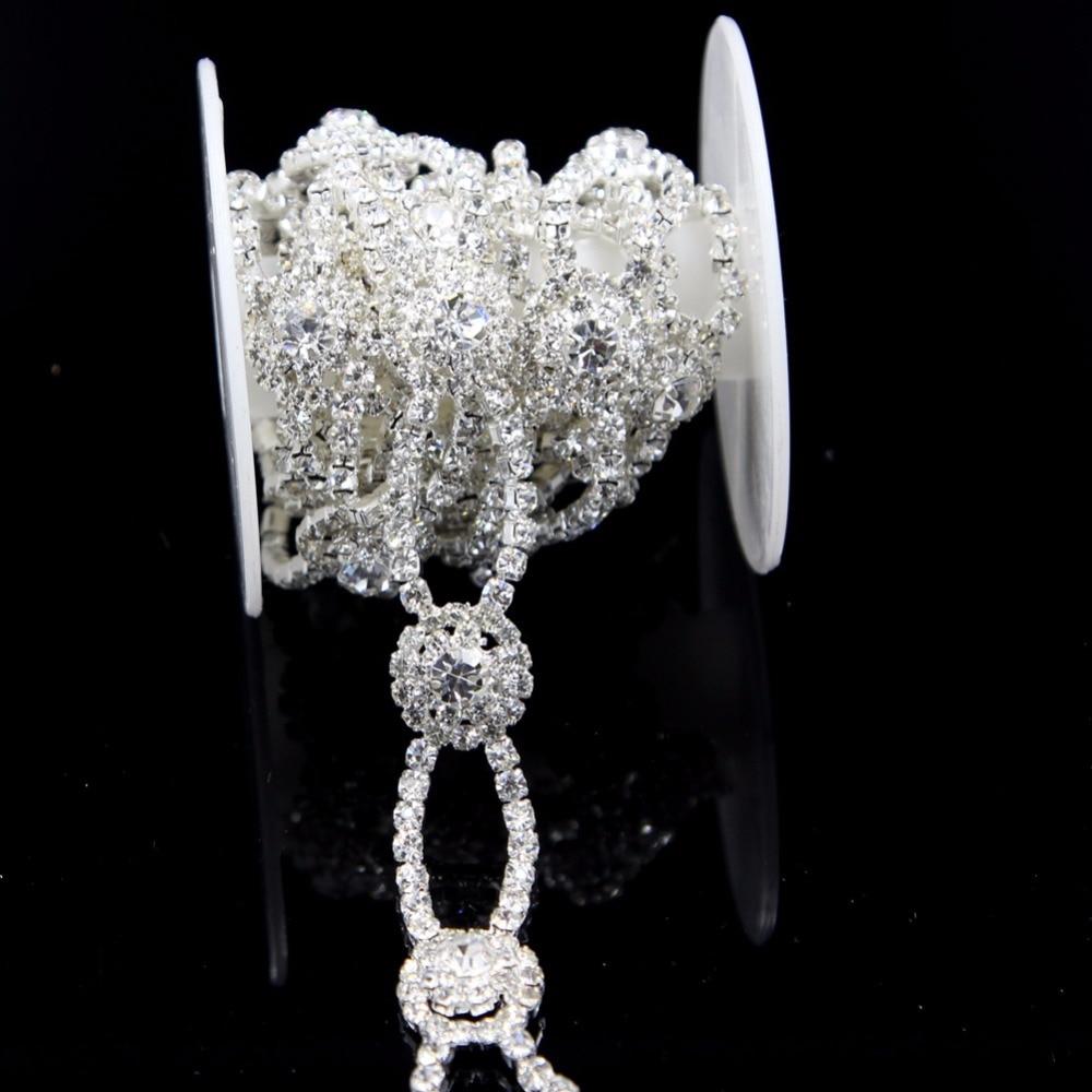 10Yards Silver Craft Accessories Rhinestone Chain Trim Bridal Dress Applique Wedding Cake Decoration