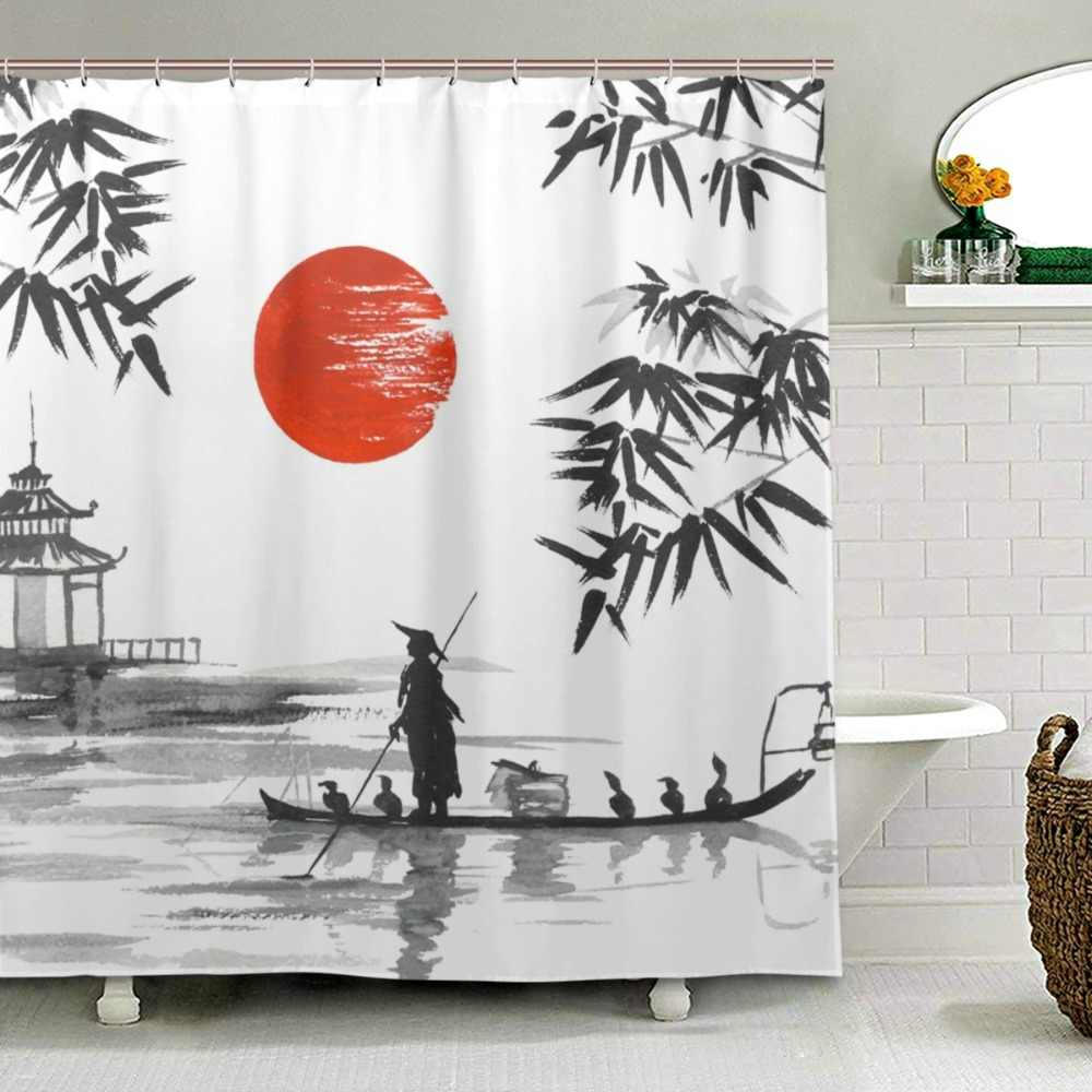 100% Polyester Fabric Shower Curtain Japanese Painting Man With Boat Pattern Print Bathroom Decorative Shower Bath Curtains