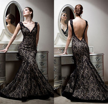 Sexy V neck backless gown elegant charming mermaid black lace formal font b dresses b font