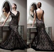 Sexy v-ausschnitt backless kleid elegante charming meerjungfrau schwarz spitze abendkleider Abendkleid Exquisite meerjungfrau spitze abendkleid