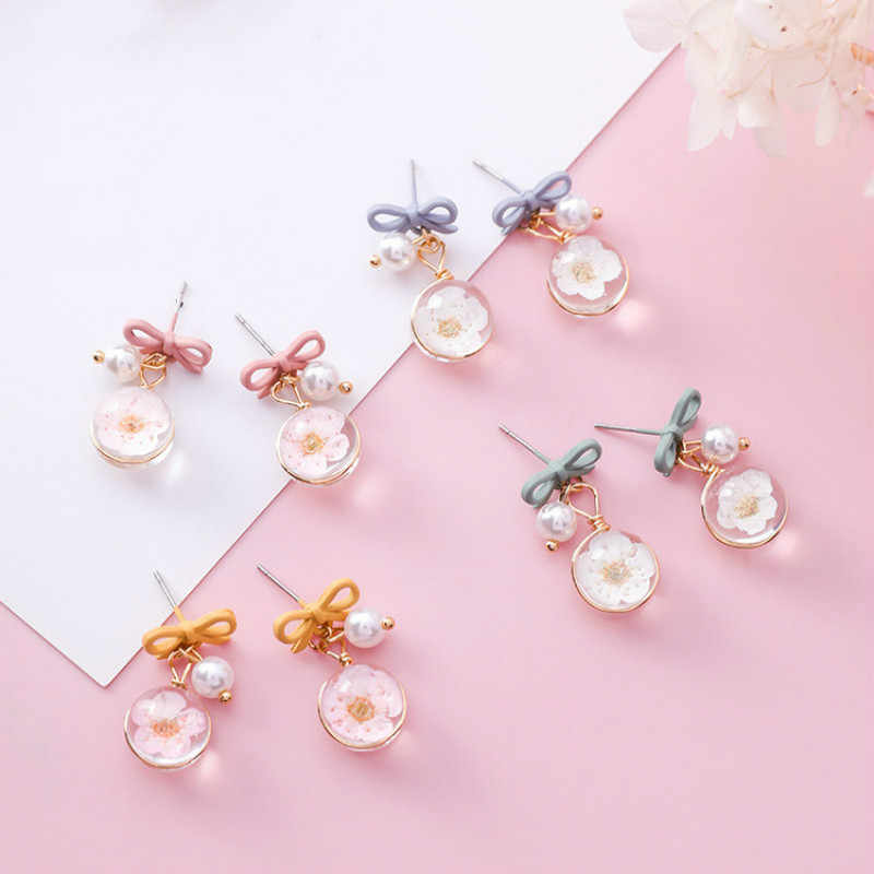 Classic Acrylic Women Dangle Earrings Bow Tie Pearl Flower Earrings For Women Drops Earrings Bohemian Earrings