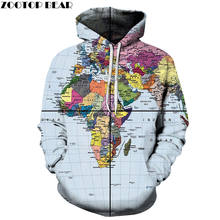 Left World Map 3D Printed Spring Casual Hoody Sweatshirts Men Tracksuit Hoodies Pullover Streetwear Jacket DropShip ZOOTOPBEAR(China)