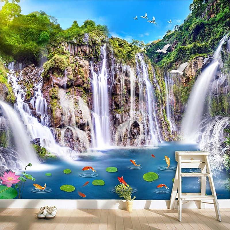 Foto Wallpaper Gaya Cina Klasik HD Air Terjun Kolam Ikan Yang Indah Pemandangan Alam 3D Mural.jpg q50