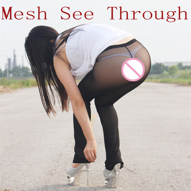 Sexy Women Mesh See Through Capris Flare Pantstransparent Sheer Long Flare Casual Shiny Glossy Pants Sexy