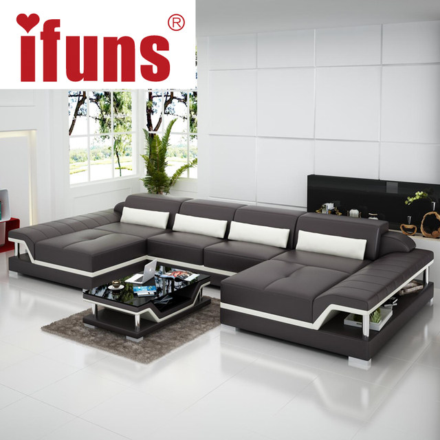 IFUNS U Shaped Black Couch Cheap Modern Design Sectional Sofa Corner  Quality Leather Luxury Sofa Sets For Living Room Furniture