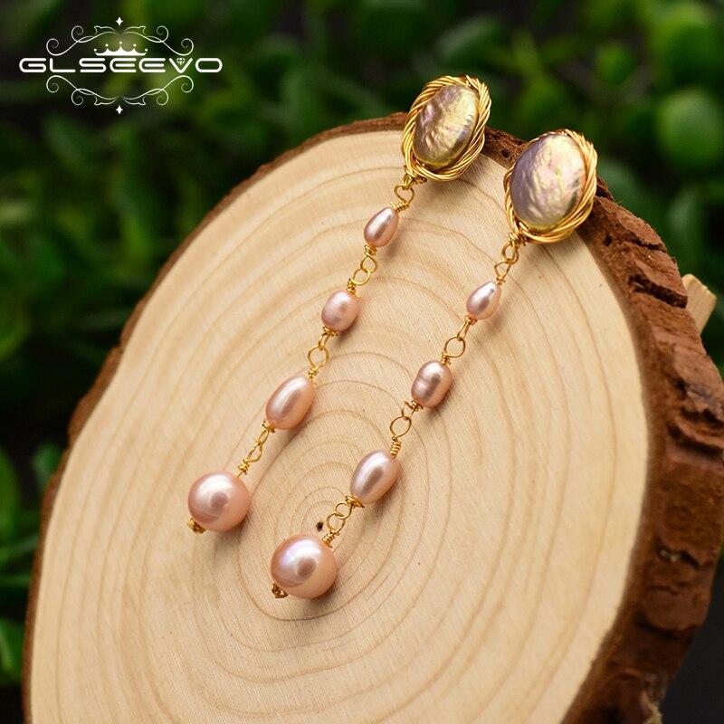 Купить женские серьги кисточки из серебра 925 пробы с натуральным жемчугом