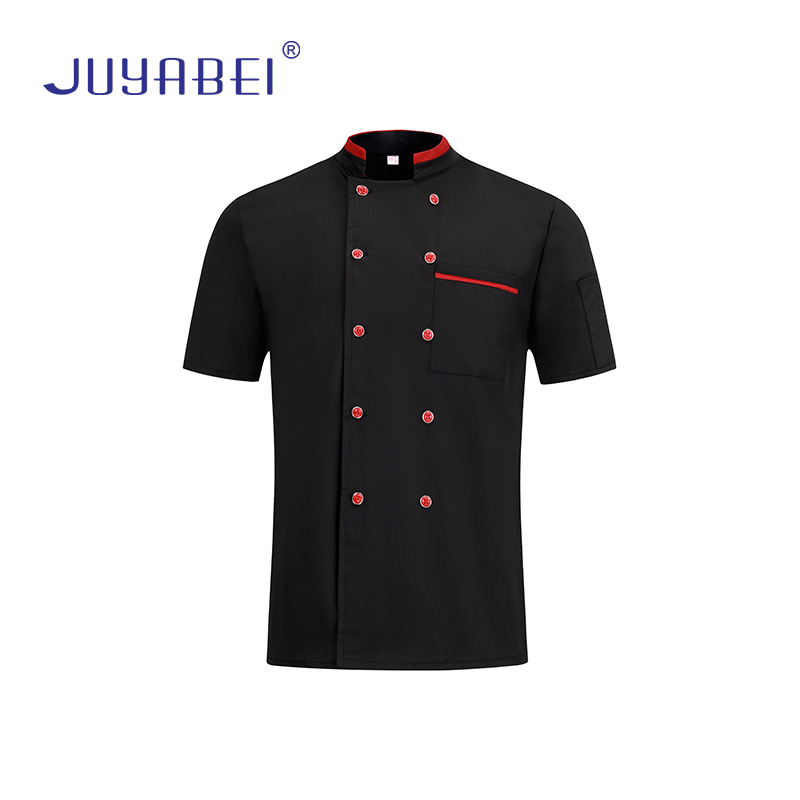 New Summer Breathable Double Breasted Pocket Short Sleeve Workwear Jacket Gourmet Service Hotel Restaurant Chef Uniform Shirt