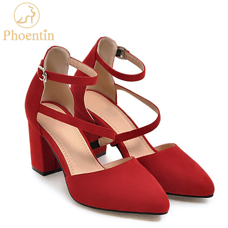 Phoentin ankle strap red shoes women narrow band high heels sexy shoes  dress large size 43 2018 women s pumps velvet black FT320 8b2a8b1cb