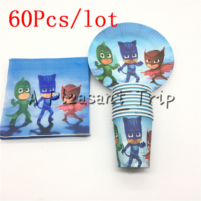 60pcs/lot Cartoon  Mask man supplies paper plate + paper cups+ paper napkins for 20 people cartoon PJ Masks  kids birthday party