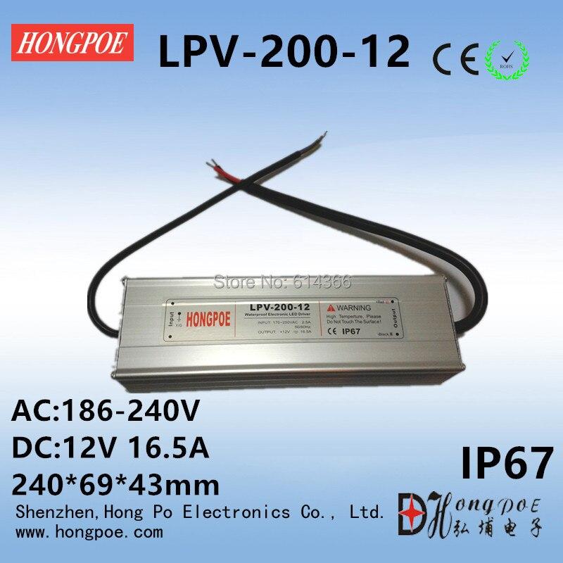 200W 12V 24V lighting Transformers LED Driver Power Adapter For LED Strip light IP67 AC-DC LED Driver 12V 16.5A,24V8.3A стоимость