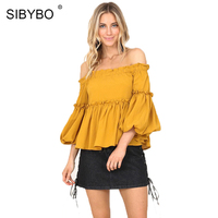 Sibybo Autumn Butterfly Sleeve Casual Ladies Ruffles T Shirt Women Tops 2017 Yellow Off The Shoulder